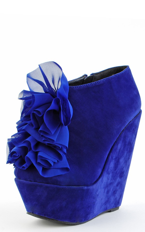 Blue Gilia Chiffon Flower Platform Wedge Booties